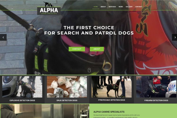 alpha canine specialists web design